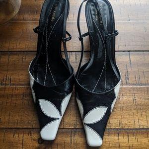 Kate Spade Black and White Square Toe Heels 9.5